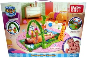 baby sleep with a play gym